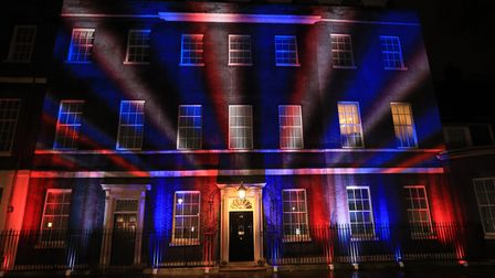The union flag colours projected onto 10 Downing Street as the UK leaves the EU. Photograph: Aaron C