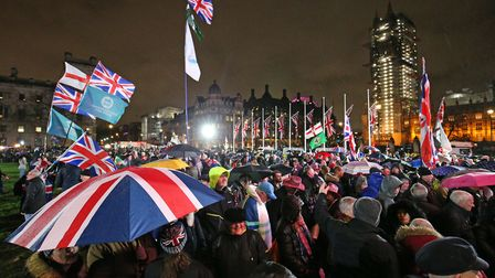 Pro-Brexit supporters in Parliament Square as the UK leaves the European Union. Photograph: Jonathan