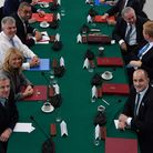 Britain's Prime Minister Boris Johnson (top, centre, L) chairs a cabinet meeting at the National Gla