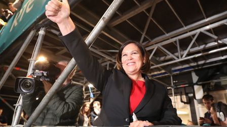 Sinn Fein President Mary Lou McDonald during the Irish General Election count at the RDS in Dublin.