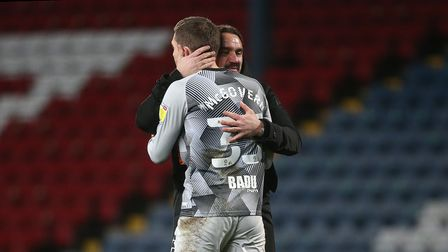 Norwich Head Coach Daniel Farke and Michael McGovern of Norwich at the end of the Sky Bet Championsh