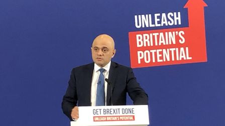 Chancellor of the Exchequer Sajid Javid talking to Conservative Party suporters on the election camp