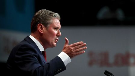 Shadow Brexit secretary Sir Keir Starmer delivers his speech during the Labour Party Conference at t