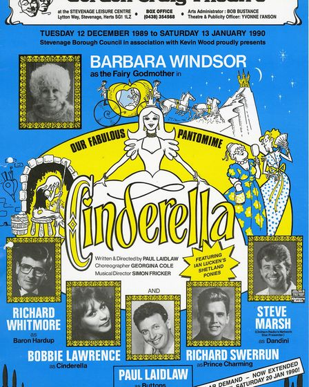 The poster for Cinderella at the Gordon Craig Theatre in Stevenage in 1989/90 featuring Barbara Wind