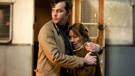Jack Bannon as Alfred Pennyworth and Dorothy Atkinson as Mrs Pennyworth in the second season of Penn