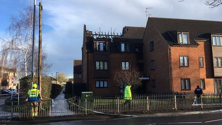 A fire broke out at Ashley Court in Hatfield. Picture: Alan Davies