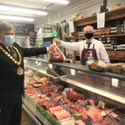 Gareths Butcher and mayor Cllr Roger Trigg. Picture: WHBC
