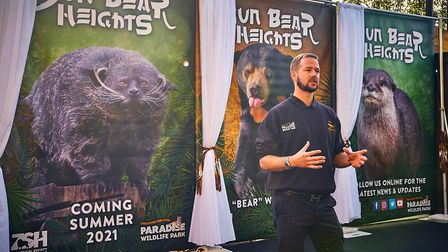 Bears About The House star Giles Clark announcing Paradise Wildlife Park's new habitat for 2021 - Su