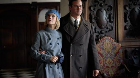 Lily James as Mrs de Winter and Armie Hammer as Maxim de Winter in Rebecca. Here the new Mrs de Winter arrives at...