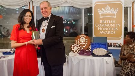 Cynthia Barker, and Lord Lieutenant of Kingston-upon-Thames, Colonel Geoffery Godbold. Picture: Piot