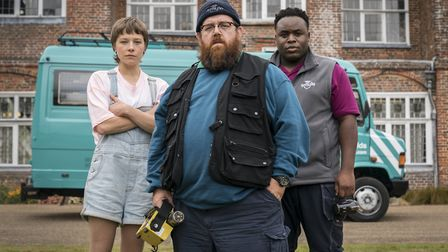 Emma D'Arcy, Nick Frost and Samson Kayo in Truth Seekers. Picture: Colin Hutton, Amazon, Stolen Pict