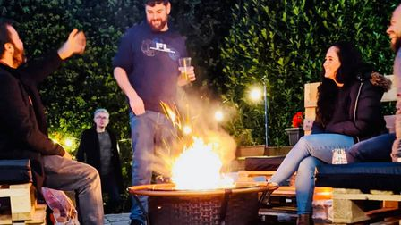A fire pit at The Great Northern pub in St Albans.