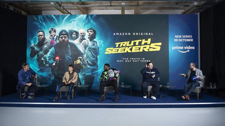Nick Frost, Samson Kayo, Emma D'Arcy and Julian Barratt speak in the Q&A at the Global Launch Event