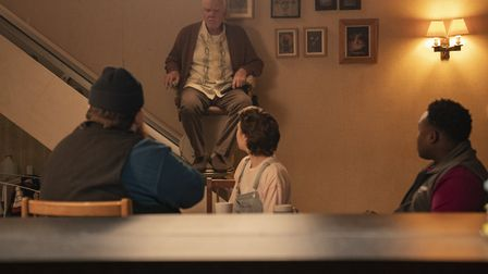 Nick Frost as Gus Roberts, Malcolm McDowell as Richard, Emma D'Arcy as Astrid and Samson Kayo as Elton in the third...