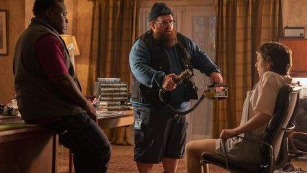Samson Kayo as Elton, Nick Frost as Gus Roberts, and Emma D'Arcy as Astrid in Truth Seekers. Picture