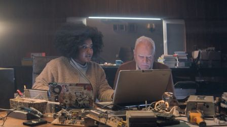 Susan Wokoma and Malcolm McDowell in Amazon Prime series Truth Seekers. Picture: Stolen Picture/Amaz
