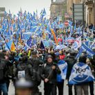 Anti-Brexit, pro-Scottish independence demonstrators in Glasgow, in January 2020