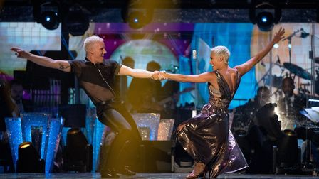 Karen Hauer and Jamie Lang dancing on the Strictly Come Dancing launch show. Picture: BBC/Guy Levy