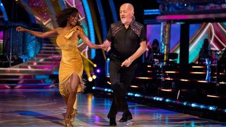Strictly Come Dancing's Oti Mabuse and comedian Bill Bailey. Picture: BBC/Guy Levy