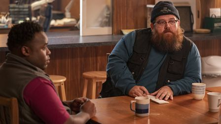 Samson Kayo as Elton and Nick Frost as Gus Roberts in the third episode of Truth Seekers. Picture: C
