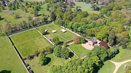 An overhead shot of the Walled Garden and surrounding woodland on the Woodhall Estate in Hertfordshi