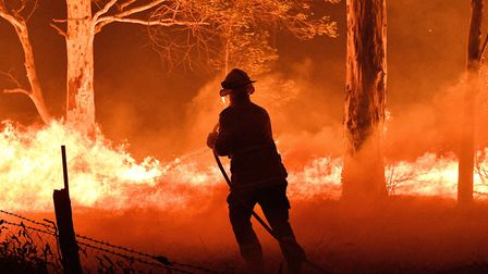 HUMAN RIGHTS ISSUE: A firefighter hosing down trees and flying embers in an effort to secure nearby