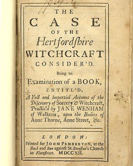 18th century pamphlet on witches in Hertfordshire