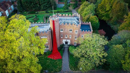An aerial picture of The Secret Society of Hertford Crafters' poppy installation at Hertford Castle