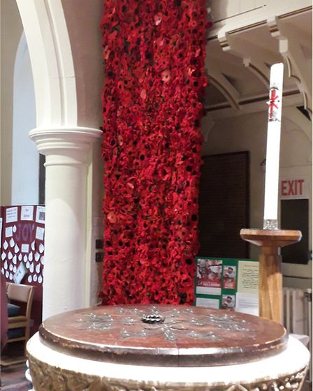 The Secret Society of Hertford Crafters' poppies in Holy Trinity Church, Bengeo. Picture: supplied b