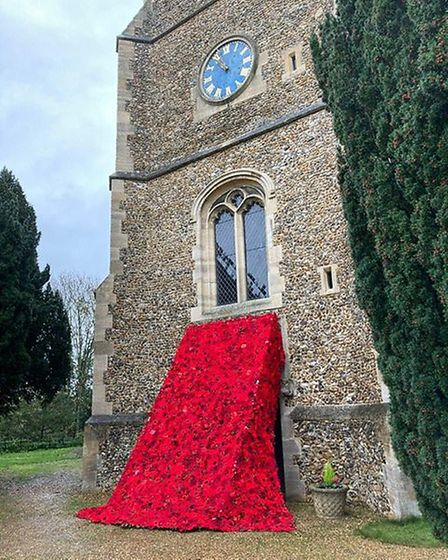 Poppies at St Mary's Church in Hertingfordbury. Picture: supplied by The Secret Society of Hertford