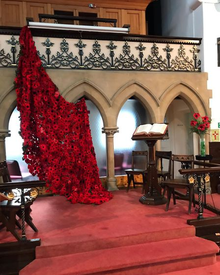 Poppies inside United Reformed Church in Hertford. Picture: supplied by The Secret Society of Hertfo