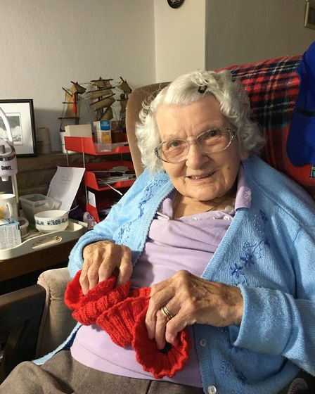 Ivy Buckm aged 100 in 2018. Picture: supplied by The Secret Society of Hertford Crafters