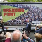 Nigel Farage poses with the infamous EU referendum poster in Westminster on June 16, 2016 in London,