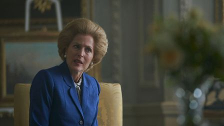 Gillian Anderson as Margaret Thatcher in season four of The Crown. This scene was filmed on location at Wrotham Park. Picture...