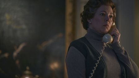 Olivia Colman as Queen Elizabeth in season four of The Crown. This scene was filmed on location at Knebworth House. Picture: ...