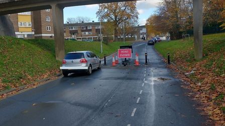 A car has also parked at the new bollards splitting Link Drive to block through traffic and create a