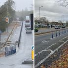 The cycle lane on Hunters Bridge in Welwyn Garden City and the cycle improvements on Queensway in Ha