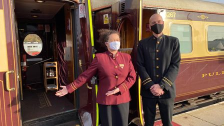 Team members Chloe Pounder and Chris Nuttall welcome passengers onboard the Northern Belle at Norwich Station. Picture...