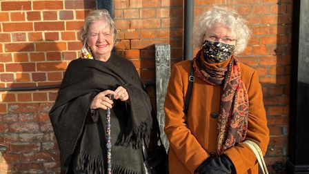 Barbara (left) and Alison Fielden (right) ahead of their trip on the poshest Christmas train in Britain Picture: Ella...