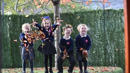 Pupils from Ellacombe School play in autumn leaves in their outdoor space