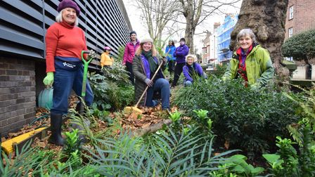 Gardeners get stuck in outside of the Royal Free Hospital