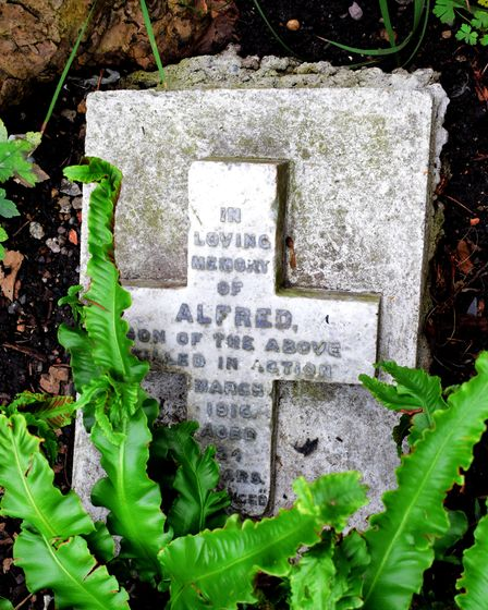 The memorial stone for Alfred in the Royal Free Charity garden