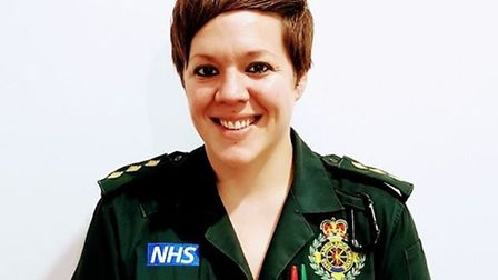Vicky Lovelace Collins in paramedic uniform