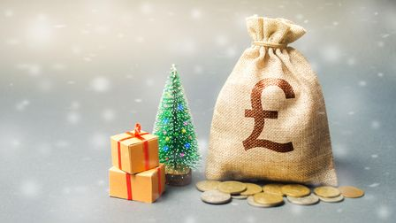 Money bag with coins and snowfall with tree. Business and finance. Loans, deposit, credit. New Year