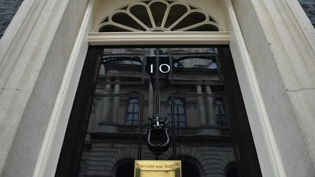 The front door of number 10 Downing Street in London.