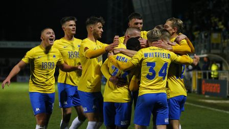 Goal celebrations for Danny Wright of Torquay United during the National League match between Torqua