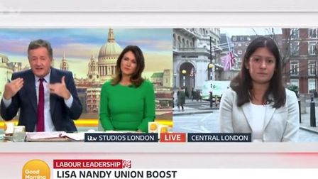 Lisa Nandy speaks to Piers Morgan on Good Morning Britain. Photograph: ITV.