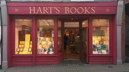 The shopfront view of Hart's Books in Saffron Walden.