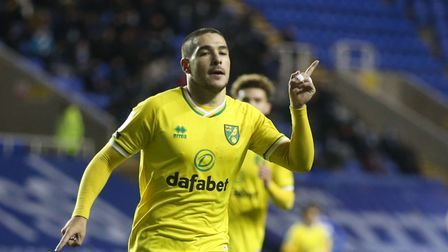 Emiliano Buendia of Norwich celebrates scoring his sides 1st goal during the Sky Bet Championship ma