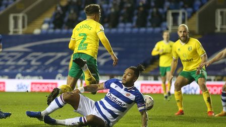 Max Aarons of Norwich City is fouled by Liam Moore of Reading and a penalty Championship 2-1 win